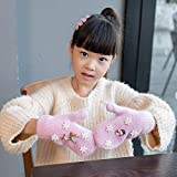 LWEITECH Guantes del Dedo de una Capa Par del Copo de Nieve Doble Caliente del Espesamiento del Invierno de Punto Completo (Negro) 2020 Estilos de Moda de Navidad (Color : Pink)