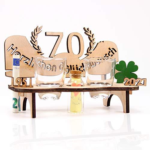 KASA - Banca da liquore con numero di annuali per compleanno, anniversario, colore: Marrone chiaro