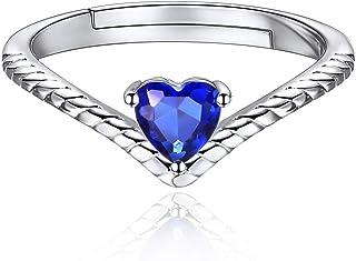 ChicSilver Plata de Ley 925 Chapado en Platino/Oro Anillo Trenzado Ajustable Corazón con Piedras de Nacimiento de 12 Meses...