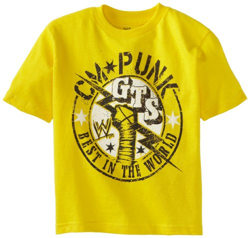 WWE Little Boys' CM Punk T-Shirt, Yellow, 7