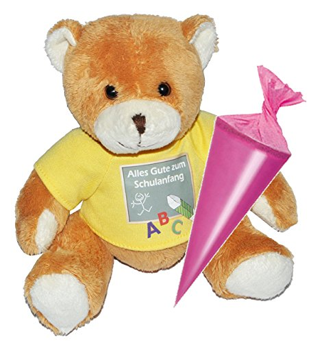 Teddy Bär mit Schultüte - 18 cm zum Befüllen - für Mädchen - Schulanfang Plüsch Plüschtier Zuckertüten Deko  Alles Gute zum Schulanfang  Glücksbringer