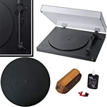 Sony PSHX500 Hi-Res USB Turntable (Black) with Silicone Turntable Mat + Vinyl Cleaner