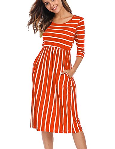 Halife Women's Summer Casual Tshirt Dresses Short Sleeve Boho Beach Dress Orange,L