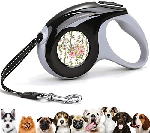 Retractable 360 Tangle Free Pet Walking Leash Pink Lily Flowers and Green Vines 10 ft Leash product image