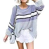 Suéter de Color en Contraste para Mujer, suéter de Costura a Rayas con Mangas rizadas de Viento de la Universidad de otoño e Invierno de Europa y América