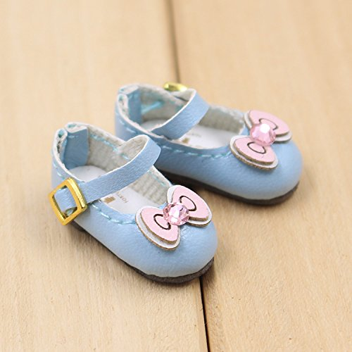 Fortune days toys for 1/6 Doll Shoes, Kitty cat and Butterfly Style Handmade Shoes Four Different Color, Suitable Blythe ICY licca Azone Body and More! (Blue Bowknot)