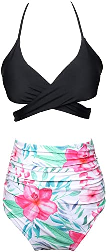 Rongjuyi Maillot de Bain à Volants Bikini Taille Haute mère et Fille Maillot de Bain en Nylon de Couleur Assorcravate (Couleur   10, Taille   XL)