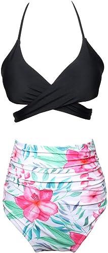 Rongjuyi Maillot de Bain à Volants Bikini Taille Haute mère et Fille Maillot de Bain en Nylon de Couleur Assorcravate (Couleur   10, Taille   116)