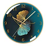 Chinese Style Ginkgo Leaf Round Wall Clock Ultra-Quiet Home Living Room Wall Clock Bedroom Art Deco Large Wall Clock 14 and 16 Inches Modern Wall Clock Decorative Clo (C)