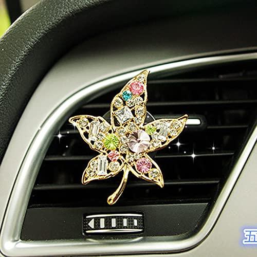 xingwang Bonito clip de perfume para coche, diseño de ballet, con flores de diamante, para coche, aire acondicionado, desodorante, aromaterapia, para mujer (nombre del color: hoja de arce)