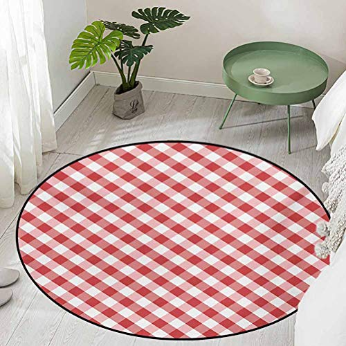 Round Outdoor Floor Mats Crosswise Stripes with Little Red Squares Retro Abstract Pattern Diameter 66 inch Non-Slip Area Rug Pad