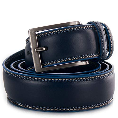 Cintura uomo blu Cinta per jeans pantaloni abito artigianale 3,5 cm classica Casual da ragazzo di moda con fibbia cuciture belt bombata 115 in Vera Pelle Blu
