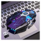 LXF JIAJU A7 Ratón Inalámbrico LED Backlit 2.4G USB Ergonómico Ergonómico Gaming Mouse Ratones Ópticos para PC Portátil Portátil Gamer (Color : Black)