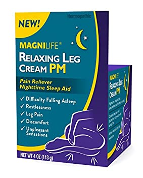 MagniLife Relaxing Leg Cream PM Deep Penetrating Topical for Pain and Restless Leg Syndrome Relief Naturally Soothe Cramping Discomfort and Tossing with Lavender and Magnesium - 4oz