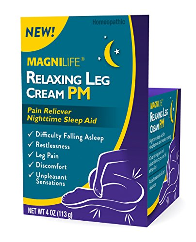 MagniLife Relaxing Leg Cream Pain PM Relief & Sleep Aid For Restless Legs, Cramping, Discomfort & Tossing - Natural Soothing, Deep Penetrating Topical with Magnesium & Lavender - 4oz