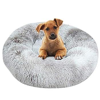 BVAGSS Panier de Chat Rond en Peluche pour Animal Chats et Petits Chiens Coussin pour lit de Chat Lit Donut Chien Convient Nest Sofa XH062 (Diameter:70cm, Tie Dye Grey)