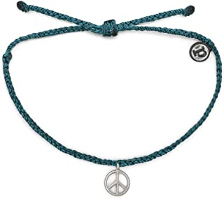 Pura Vida Silver or Black or Gold Peace Sign Bracelet - Plated Charm, Adjustable Band - 100% Waterproof