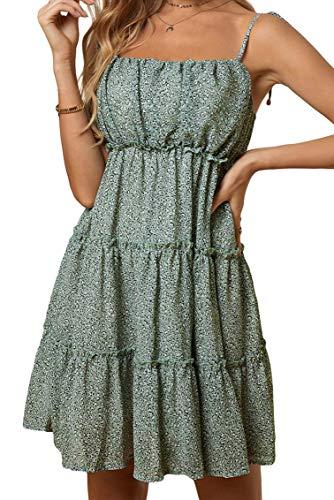 Ocean Plus Dames bloemenprint mouwloze jurken meerlagige cakejurk met hoge taille strandjurk met verstelbare spaghettibandjes