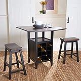 Safavieh Home Emeric Dark Espresso and Black Oak 3-piece Drop Leaf Table Storage -Rack -Pub -Set