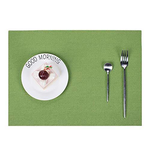 Jklj Mantel Individual Impermeable y Antideslizante Mat Rattan Aislamiento for Decorar Mesa de Comedor y Cocina Mantel Lavable (Color : Grass Green)