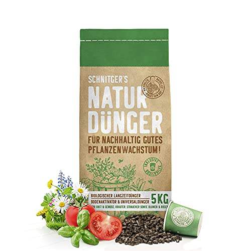 Naturdünger - Universal Pflanzendünger in Bio-Qualität - Langzeitdünger für nachhaltig gutes Pflanzenwachstum - mit Dosierhilfe - einfach & unbedenklich düngen - Dünger von SCHNITGER's - 5kg