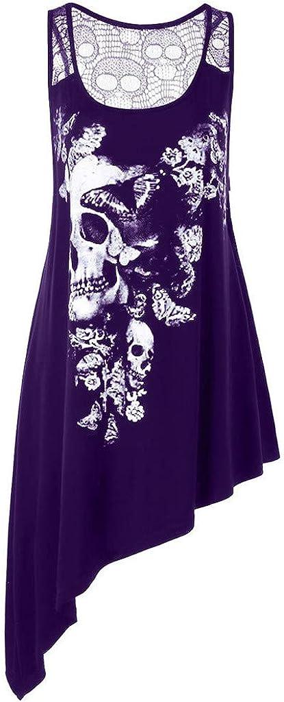 NREALY Blusa Womens Fashion Plus Size U Neck Skull Printed Asymmetric Hollow Out Tank Top Vest