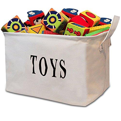 Tougo Große 17 Zoll Weiß Spielzeugkiste Organizer Jute faltbar Aufbewahrungsbox Wäschekorb mit Griff