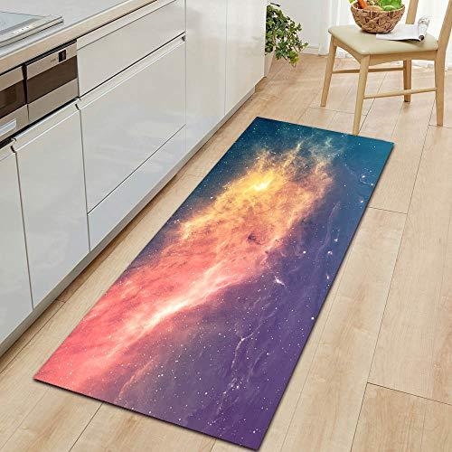 HLXX Alfombra de la Serie Galaxy Alfombra de Puerta de Entrada Decoración de Piso de Dormitorio Alfombra de Sala de Estar Alfombra Antideslizante de baño Felpudo A8 50x160cm