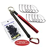 Codaicen Wacky Rig Worm Fishing Tool Kit - Wacky Rig Tool, Wacky Worm O-Rings, for Largemouth and SmallMouth Bass Fishing (Wacky Rig Tool with O-Rings and Hooks)
