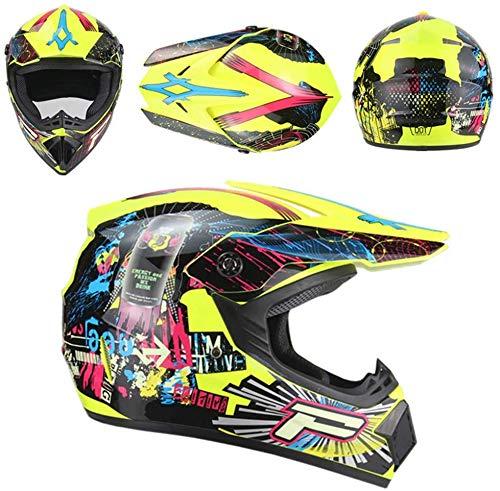 TIANDU ATV Motorcycle Helmet Dirt Bike Helmet + Goggles + Gloves Motorcycle BMX MX Downhill Off-Road MTB Mountain Bike Helmet Men's Women DOT Approved,Yellow 03,XL