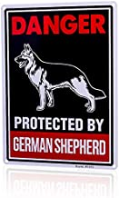 Beware of Dog Sign Will Bite,Beware of German Shepherd Dog Sign 14x10 inch Rust Free 0.4mm Aluminum, UV Printed, Easy to Mount Weather Resistant Long Lasting Ink for Fence German Shepherd