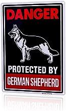 Beware of Dog Sign Will Bite,BewareofGermanShepherdDogSign 14x10 inch Rust Free 0.4mm Aluminum, UV Printed, Easy to Mount Weather Resistant Long Lasting Ink for Fence German Shepherd