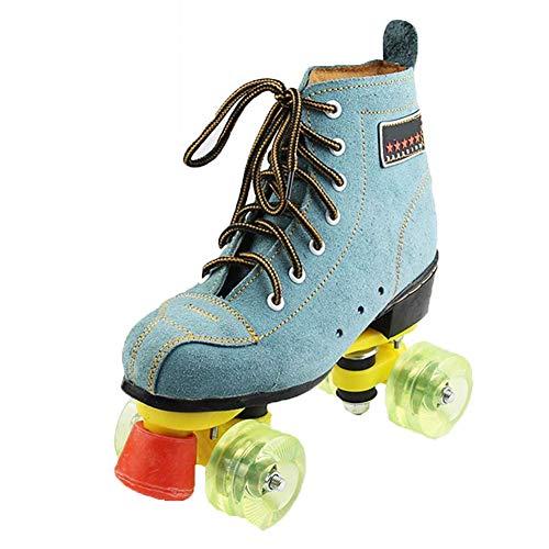 Rodillo de piel de ante patines Quad Quad clásico patines patín artístico de ruedas para adultos en línea y de la juventud del patinaje sobre ruedas Botas para interiores y exteriores, Azul,41