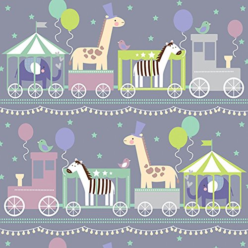 Baby Animals Train Boy Girl Shower Gift Wrap Paper - 15 Foot Roll