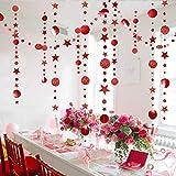 Guirnalda de lunares rojos brillantes y estrellas para decoración de árbol de Navidad / Año Nuevo chino para colgar banderines metálicos para Halloween, despedida de soltera