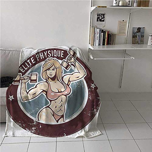 painting-home Soft Blanket Fitness, Retro Sexy Gym Lady Calming Blanket to Keep Adults, Children, Warm on Cool Nights 54 x 72 Inch