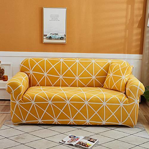 Funda de sofá de 4 Plazas Funda Elástica para Sofá Poliéster Suave Sofá Funda sofá Antideslizante Protector Cubierta de Muebles Elástica Rejilla Naranja Funda de sofá