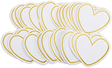 Kate Aspen 28463NA HEART SHAPED CARDS FOR WISH JAR (SET OF 50) Accessory, One Size, White, Gold