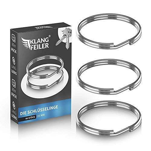 Klangfeiler® Schlüsselring 80er Pack | 25mm Durchmesser | Schlüsselringe für Schlüsselanhänger Ring