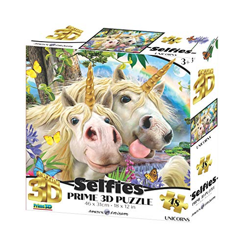 Howard Robinson HR10990 Unicorn selfie 3D Effect Jigsaw Puzzle, Multicolour
