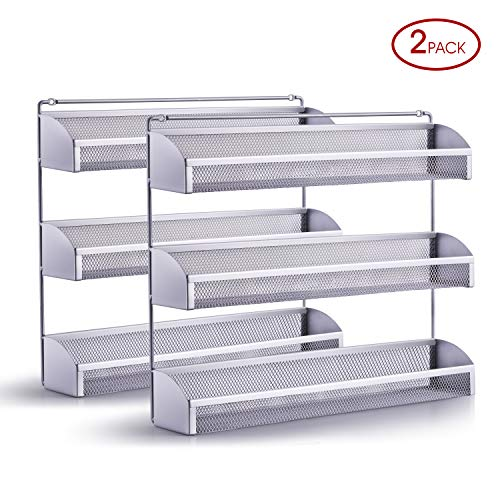 2 Pack Simple Trending 3 Tier Spice Rack Organizer Wall Mounted Spice Shelf Storage Holder for Kitchen Cabinet Pantry Door Silver