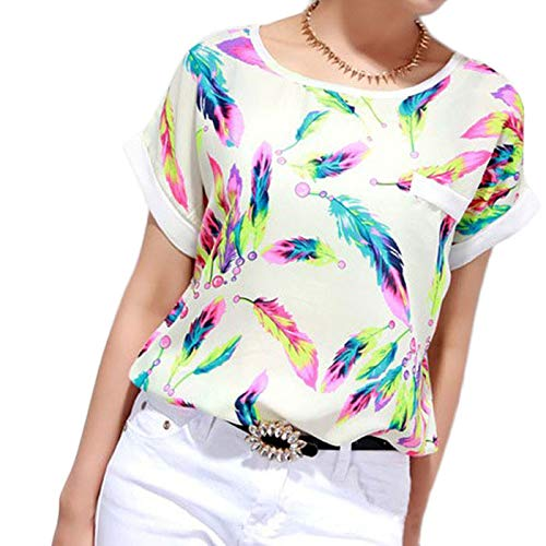 Vrouwen met veren print chiffon blouse top casual korte mouwen losse T-shirt mode elegant bovenstuk blikvanger kleding tops persoonlijkheid design wondermooi shirt met korte mouwen