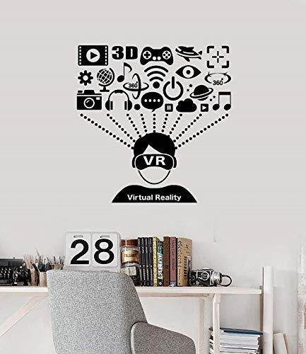 JXMN Calcomanía de Vinilo para Pared, Auriculares de Realidad Virtual, Reproductor, Pegatina artística, Mural, Sala de Juegos, Internet, cafetería, decoración 84x86cm