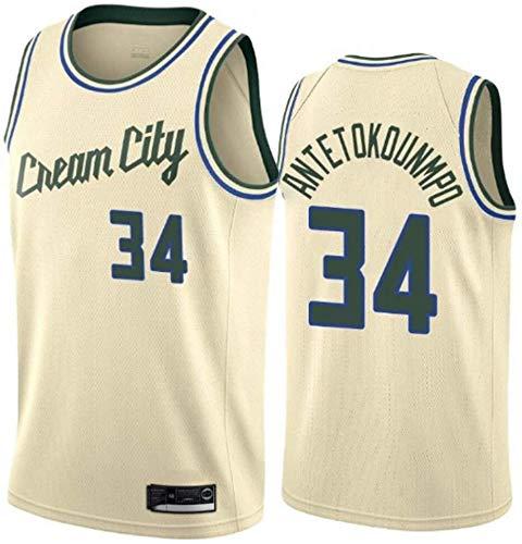 Zxwzzz Bucks De Milwaukee Mujeres NBA Jersey De Los Hombres No.34 Antetokounmpo Jerseys Transpirable Bordado Baloncesto Swingman Jersey (Color : White C, Size : Medium)