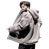 Minesam ボアコート メンズ ジャケット フード付き ボアブルゾン もこもこ 防寒コート ショート丈 アウター 大きいサイズ 秋冬 グレー L