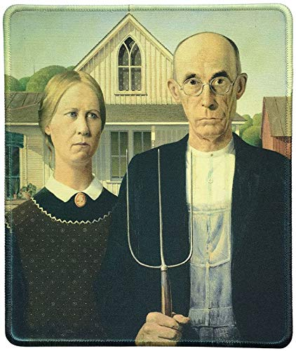 Naturkautschuk-Mauspad mit berühmtem Gemälde der amerikanischen Gotik von Grant Wood-8.3x10.3in