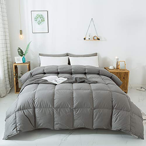 WhatsBedding 100% Cotton Down Comforter Goose Duck Down and Feather Filling,Hypoallergenic Comforter. All Season Duvet Grey Insert or Stand-Alone Down Comforter (Dark Gray Comforter Queen)