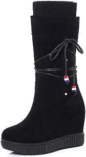 BalaMasa Womens ABS14102 Closed-Toe Pull-On Frayed-Seams Black Pu Boots - 4.5 UK (Lable:38)