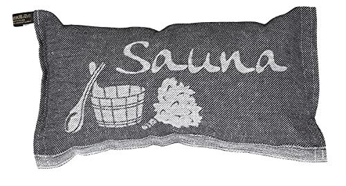 Jokipiin | 1 Saunakissen Lieblingskissen Reisekissen | Design: Sauna, schwarz/weiß | Maße: 40 x 22 cm, Leinen/Baumwolle | hergestellt in Finnland
