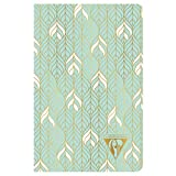 Clairefontaine 193396C - Un carnet piqué cousu fil Neo Deco 96 pages ivoire 9x14 cm 90g lignées, couverture carte pelliculée, motif 'liane' vert d'eau